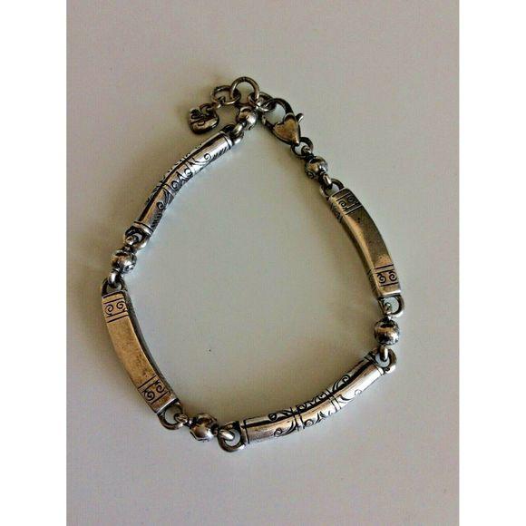 Brighton Bracelet Silver Plated Etched Bar Link